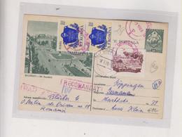 ROMANIA 1956 Registered   Postal Stationery To Germany - Briefe U. Dokumente