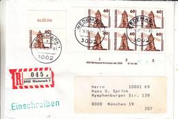 Allemagne - République Fédérale - Lettre Recom De 1981 - Oblit Wedemark - Bloc De 6 Avec Chiffres - Briefe U. Dokumente