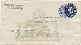 USA-JAPAN SCHIFFSPOST-INDOCHINA 1914, Firmen-Zudruck, Japanischer Schiffsstempel Transit HONGKONG - Briefe U. Dokumente