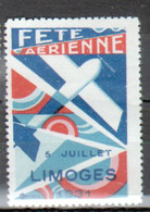 Vignette Fete Aerienne, Limoges 1931 - Aviation