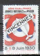Vignette Journees Mondiales De L'aviation, Vincennes, 1930 - Aviation