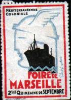Vignette Foire De Marseille, Mediterraneenne Coloniale, Signée Coget Perot 1927 - Autres