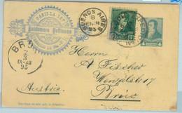 93985 - ARGENTINA - POSTAL HISTORY - Added Stamp STATIONERY CARD To AUSTRIA 1895 - Ganzsachen