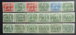 NEDERLAND   1940   Traliezegels   Nr. 356 - 373     Scharnier *   CW  173,00 - Unused Stamps