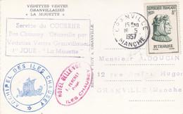 """Cachet Service Du Courrier Iles Chausey-Granville Par Vedettes Vertes Granvillaises Sur CP """" La Mouette """". - Poste Maritime"""