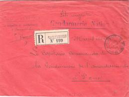 1914- Pli URGENT Rouge  étiquette Rose De FAUQUEMBERGUE -  GENDARMERIE NATIONALE - Guerra De 1914-18