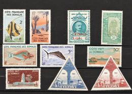 Côte Française Des Somalis - Lot Intéressant 10 Timbres Séries Courantes Dont FR-SO 222 Et PA 11/12 MH - Non Classés