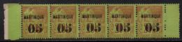 MARTINIQUE / 1886 - BANDE DE 5 - 05 SUR 20 ALPHEE DUBOIS - MAURY # 3 ** / COTE +200.00 EUROS (ref 7008a) - Neufs