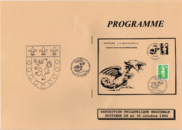 Cachet Commémoratif Congrès Philatélique Régional Du Centre Ouest Du 29 Et 30/10/1994 Sur Progrmme - Cachets Commémoratifs