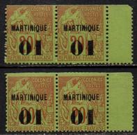 MARTINIQUE / 1886 - 2 PAIRES - 01 SUR 20 ALPHEE DUBOIS - MAURY # 6 ** / COTE 220.00 EUROS (ref 7008c) - Neufs