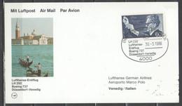 Germania 1986 - Primo Volo Lufthansa Boeing 737 Duesseldorf-Venezia             (g7374) - Lettres & Documents