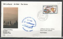 Germania 1989 - Primo Volo Lufthansa Embraer EM2 Frankfurt-Forlì             (g7376) - Lettres & Documents