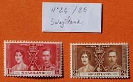 SWAZILAND 1937 -  2 Timbres Neufs N° 24 & 25  -- Voir Photos Pour Descriptif -- - Swaziland (1968-...)