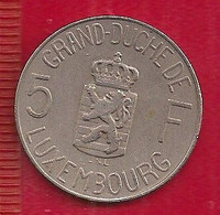 LUXEMBOURG 5 FRANCS - 1962 - 1948-1980 : Juliana