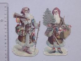 CHROMO DECOUPIS Avec PAILLETTES: PERE NOEL Lot 2 Différents Même Série - Neige Sapin Jouet Cadeau Marionnette Fusil - Christmas