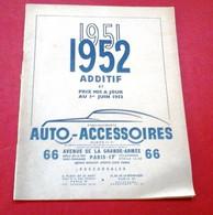 Catalogue Auto Accessoires 1951 1952 Additif Et Prix Mis à Jour Avenue De La Grande Armée Paris - Advertising