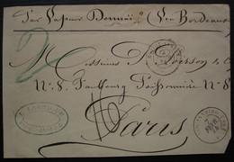 Rio De Janeiro Poste Maritime 1874 F.R.J N°5 J Lartigue Par Vapeur Doumaï (?) Via Bordeaux, Pour Paris Devant De Lettre - Poste Maritime