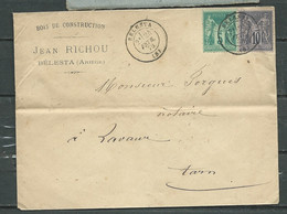 LSC AFFRANCHIE  Yvert N° 75 + 89  Oblitéré Belestra ( Ariège ) 24/02/79  Pour Lavaur  Rmab 1103 - 1877-1920: Periodo Semi Moderno