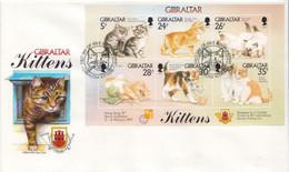 Gibraltar Set On FDC - Gatos Domésticos