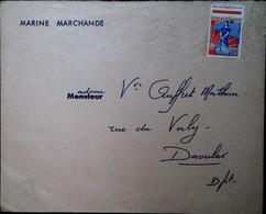 G 1 196... Lettre INSCRIPTION MARITIME DE PLOUGASTEL (29) Cachet Au Dos - Poste Maritime