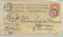 93986 - ARGENTINA - POSTAL HISTORY - STATIONERY  CARD To The NETHERLANDS 1887 - Ganzsachen