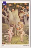 CPA CP Sweden Suède 1930/40 Adam Et Eve Syndafallet Pomme Arbre Serpent Femme Nue Homme Nu Forêt A44-58 - Altre Illustrazioni