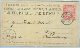 93990  - ARGENTINA - POSTAL HISTORY - STATIONERY  CARD To GERMANY   1883 - Ganzsachen