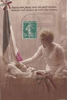 """72. MILITARIA. CARTE PATRIOTIQUE. MERE ET BEBE """" LE JESUS DANS SON BERCEAU TRICOLORE  """". TEXTE DE SARCE LE 26 /08/1916 - Guerre 1914-18"""