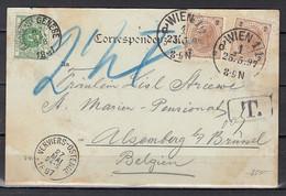 Postkaart Van Wien Naar Alsenberg (Brussel) Verviers-Ostende (Ambulant) - Cartas