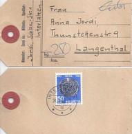 Paketadresse  Interlaken - Langenthal              1962 - Briefe U. Dokumente