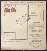 Reims (Benjamin Menesson) à Saumur (tissus) YT Colis Postaux 187 X2, 1f Brun Novembre 1943, France – CP1 - Covers & Documents