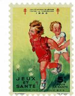 Grand Timbre Contre La Tuberculose 1933 , TAILLE 10.5 X 15.5 - Antituberculeux