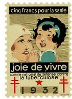 Grand Timbre Contre La Tuberculose 1932 , TAILLE 10.5 X 15.5 - Antituberculeux