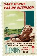 Grand Timbre Contre La Tuberculose 1950, 100FR , TAILLE 9.5 X 14.5 - Antituberculeux