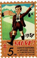 Grand Timbre Contre La Tuberculose 1937, 5FR , TAILLE 9.5 X 14.5 - Antituberculeux