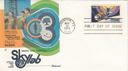 Sc#1529 Skylab Space Station 10c Stamp Issue, Carr Gibson And Pogue Astronauts,1974 First Day Cover - 1971-1980