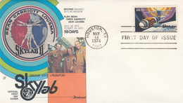 Sc#1529 Skylab Space Station 10c Stamp Issue, Bean Garriott And Lousma Astronauts,1974 First Day Cover - 1971-1980