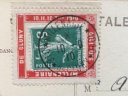 Porte Timbre : MILLENAIRE DE CLUNY 10 11 12 7tbre 1910 Sur CP CLUNY Ancienne Abbaye - Advertising