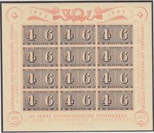 SCHWEIZ  Block 9, Postfrisch *, 100 Jahre Briefmarken, 1943 - Blocks & Sheetlets & Panes