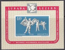 SCHWEIZ  Block 14, Postfrisch **, LUNABA, 1951 - Blocks & Sheetlets & Panes
