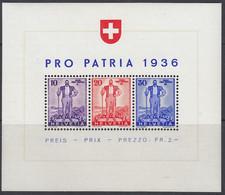 SCHWEIZ  Block 2, Postfrisch **, Pro Patria, 1936 - Blocks & Sheetlets & Panes