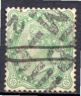 INDE ANGLAISE - (Empire) - 1882-88 - N° 40 - 4 A. 6 P. Vert-jaune - (Effigie De La Reine Victoria) - 1858-79 Kronenkolonie