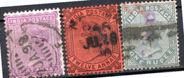 INDE ANGLAISE - (Empire) - 1882-88 - N° 41 à 43 - (Lot De 3 Valeurs Différentes) - (Effigie De La Reine Victoria) - 1858-79 Kronenkolonie