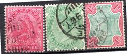 INDE ANGLAISE - (Empire) - 1892-99 - N° 46 à 48 - (Lot De 3 Valeurs Différentes) - (Effigie De La Reine Victoria) - 1858-79 Kronenkolonie