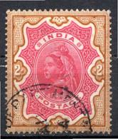 INDE ANGLAISE - (Empire) - 1892-99 - N° 49- 2 R. Bistre Et Rouge-carmin - (Effigie De La Reine Victoria) - 1858-79 Kronenkolonie