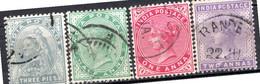 INDE ANGLAISE - (Empire) - 1900 - N° 52 à 55 - (Lot De 4 Valeurs Différentes) - (Effigie De La Reine Victoria) - 1858-79 Kronenkolonie