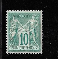 FRANCE YT 76 NEUF** SIGNE BRUN AVEC DEFAUTS (lire) - 1876-1898 Sage (Type II)