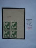 FRANCE ALGERIE FRANCAISE 1944 BLOC NEUF 4 X COQ, COIN DATE VARIETE ERGOT COURT TIMBRES EN HAUT A DROITE - 1944 Coq Et Marianne D'Alger