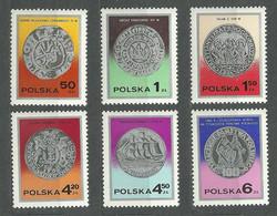 Poland, 1977 (#2522-27a), Old Polish Coins Denar Grosz Kraków Talar Gulden Gdańsk Złoty Sail King Mieszko Dąbrówka - 6v - Coins