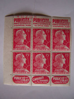 FRANCE ALGERIE FRANCAISE 1955 BLOC NEUF DE 6 X MARIANNE DE MULLER, PUBLICITE PAR L'OBJET - Unused Stamps